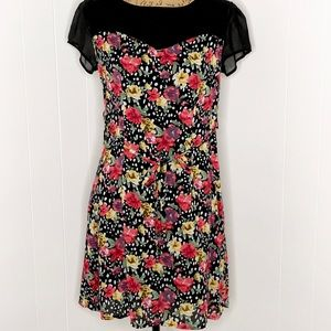 Tulle Semi-Fitted Sheath Dress-Floral-Size M